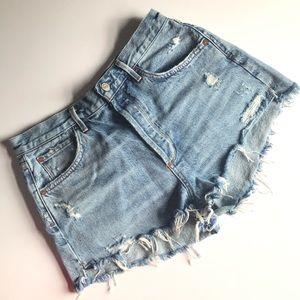 AGOLDE Jaden High Waist Cut Off Denim Shorts 31